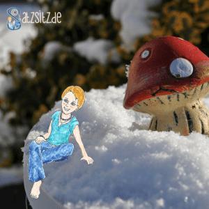 das A&O sitzt als Illustration im Schnee; ganz nah am Glückspilz