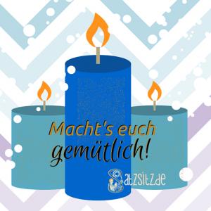 Illustration von das A&O: drei blaue Kerzen mit dem Schriftzug: Macht's euch gemütlich!