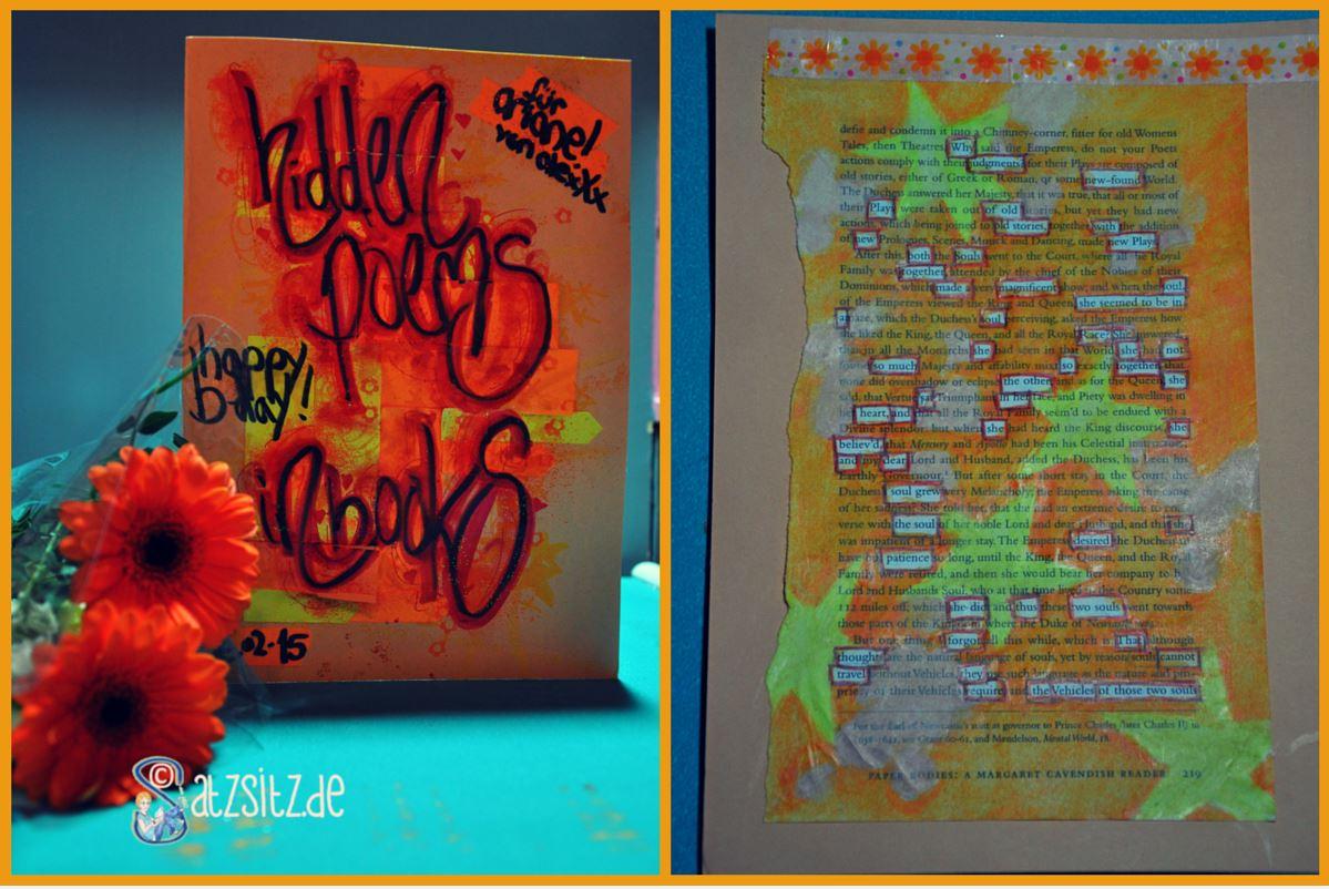 Orange gelbe Geburtstagskarte von das A&O mit Blumen und Gedicht