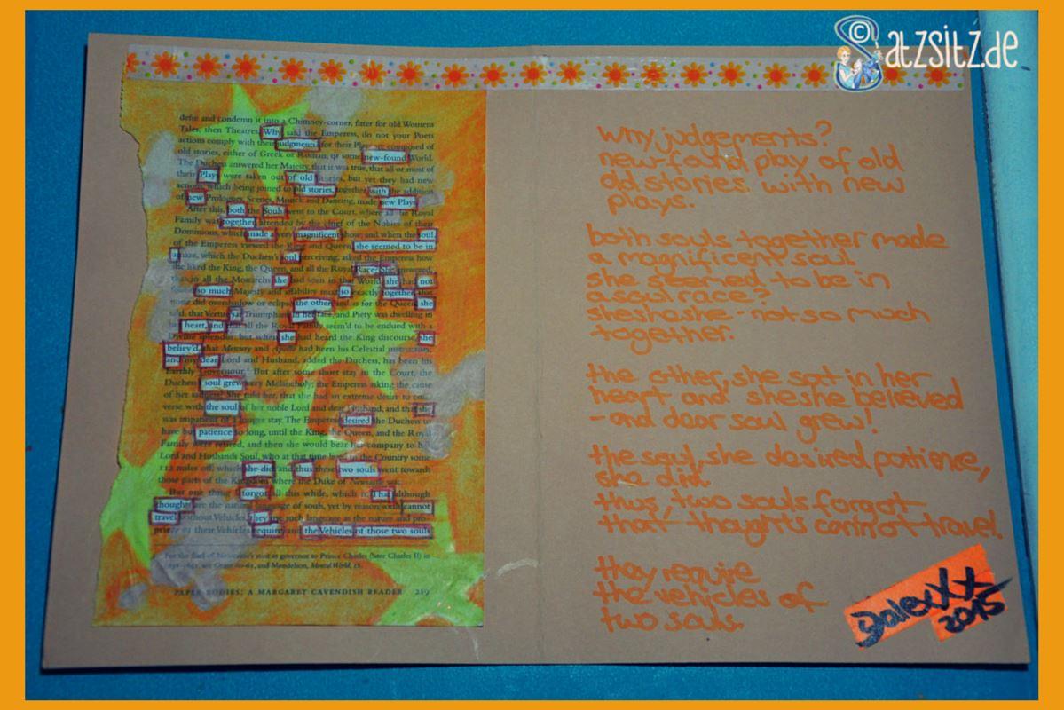 Orange Karte mit Sternenbemalte Buchseite und dem daneben geschriebenen Gedicht