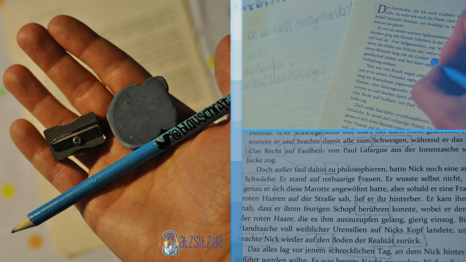Collage aus 3 Bildern zur Blackout Poetry: mit Bleistift umrandete Worte auf Buchseiten