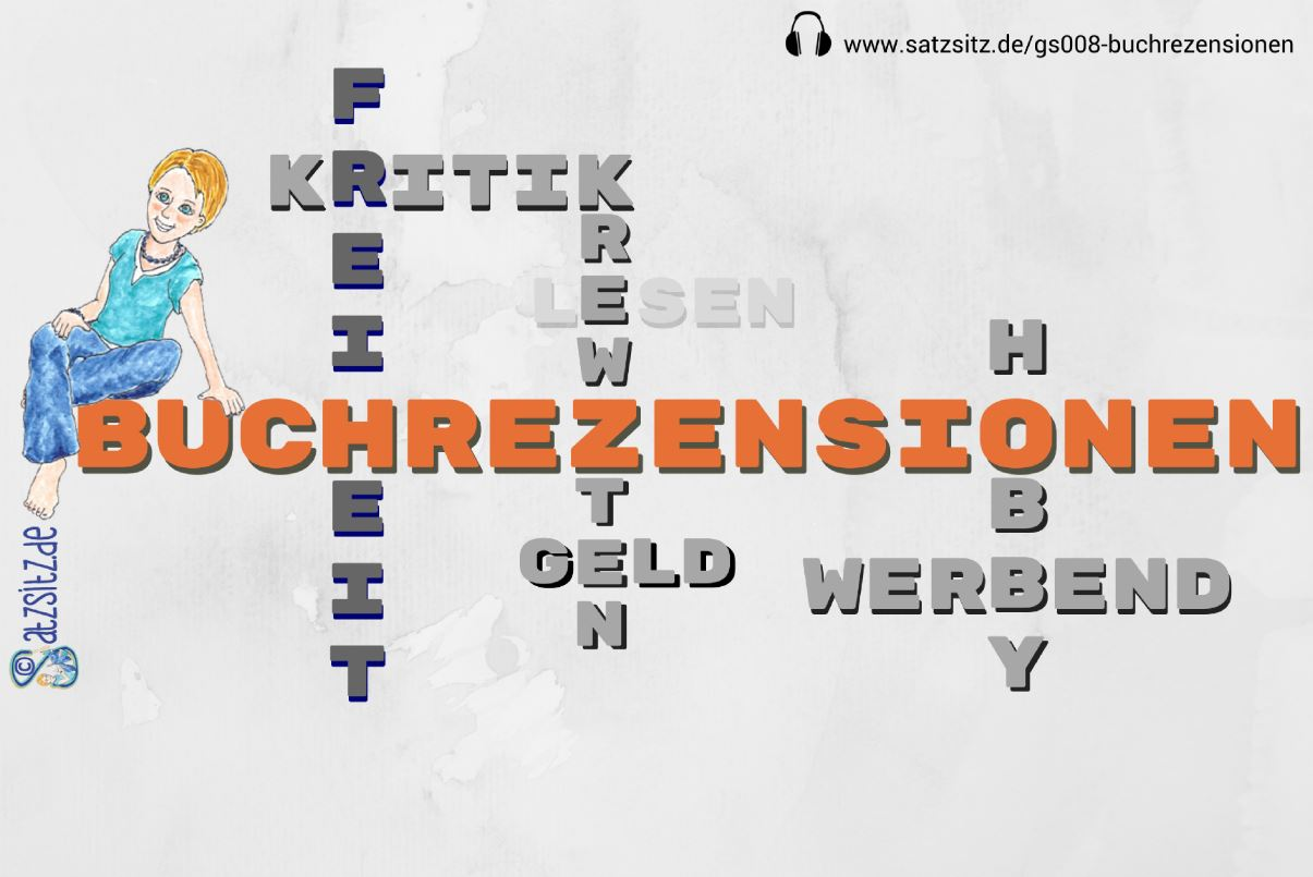 Collage aus einem Wortkreuzworträtsel rund um Rezensionen. Darauf sitzt das A&O - gezeichnet.