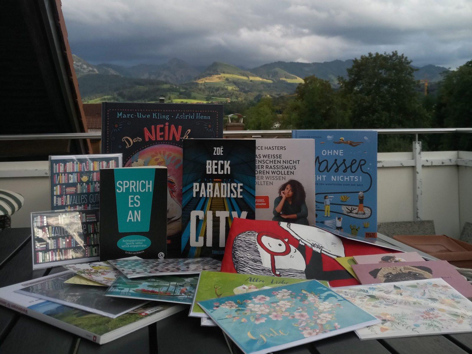 Der gesamte Büchereinkauf auf einem Tisch drappiert, dahinter Bergpanorama