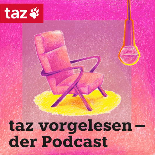 Podcast Cover Illustration in pinkrot: Gemütlicher Sessel vor einem Mikrofon