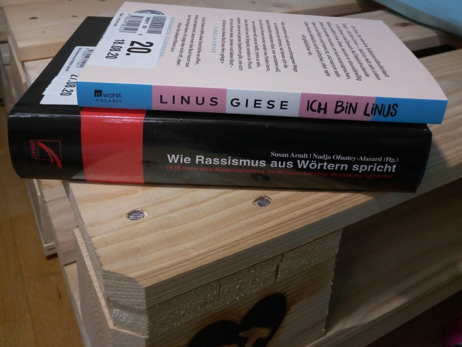 """""""Ich bin Linus"""" und """"Ein kritisches Nachschlagewerk"""" liegen übereinander gestapelt"""