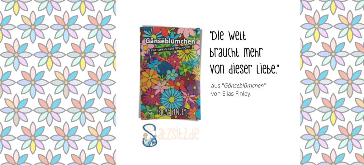 """Buchcover von """"Gänseblümchen"""" mit Illustrationen bunter Blumen dazu das Zitat """"Die Welt braucht mehr von dieser Liebe"""""""